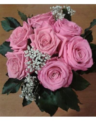 Bouquet rond de roses 7 roses éternelles