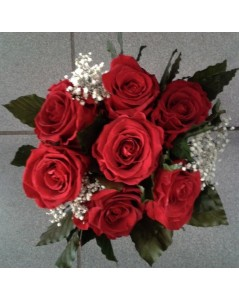 Bouquet rond de roses 7 roses éternelles rouges