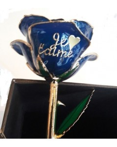 "Rose en or 24k bleue ""je t'aime"""