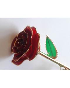 Rose rouge éternelle plaquée or