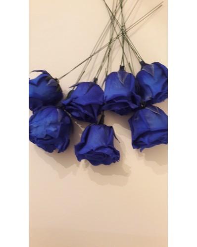 Bouquet rond de 7 roses éternelles bleues